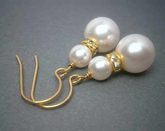 Gold Pearl Earrings With Round White Swarovski Crystal Pearls