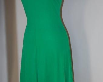60s Dress, Mod, Mini, Emerald Green,Stretch, Nylon, Mini, Lord & Taylor, Size S/M