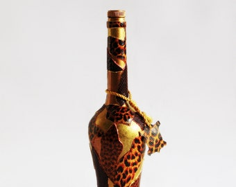 Bottle , Upcycled Bottle ,  Animal Print, ,OOAK Hand Painted