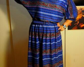 M Vintage 70s/80s Blue Paisley Dress