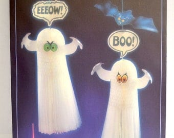 Vintage Hallmark Ghooly Ghosts & Beastly Bats Two Hanging Decorations Vintage Paper Set of Two