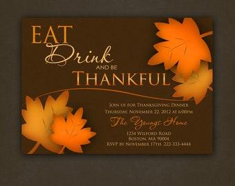 Be Thankful Thanksgiving Invitation, Printable File