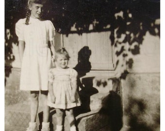 French Vintage Black and White Photo - Two Young Girls