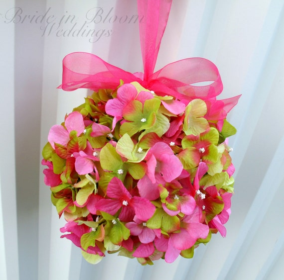 Pomander Flower girl kissing ball Wedding flower ball, Hot pink green Wedding decoration