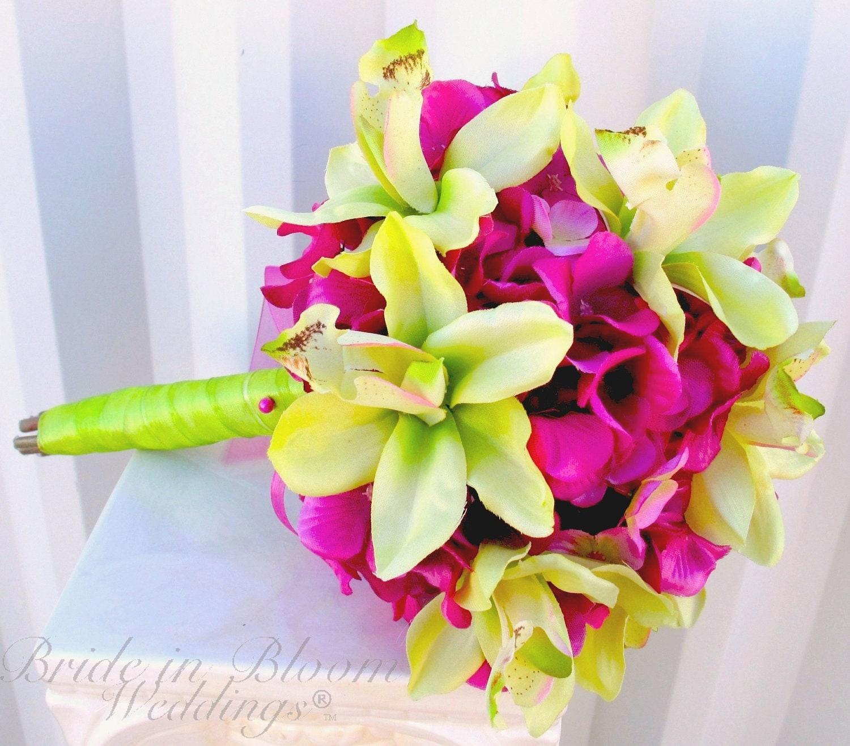 Bridesmaid Bouquet Wedding Bouquet Hot Pink Hydrangea Lime