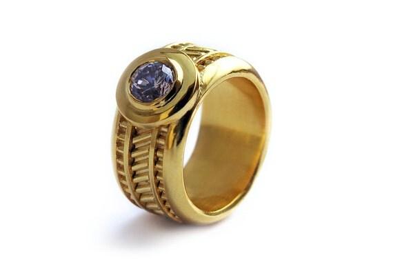 Unique personalized engagement ring, purple zirconia stone ring