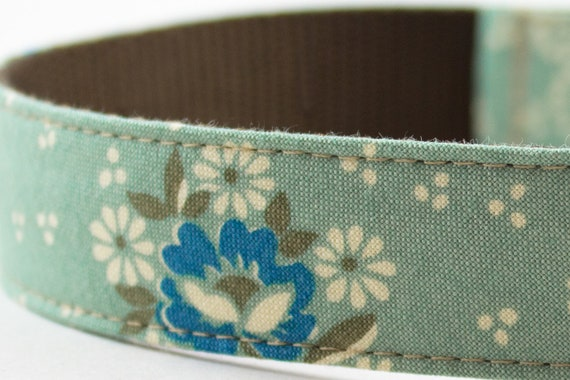 Blue Wallflowers Dog Collar