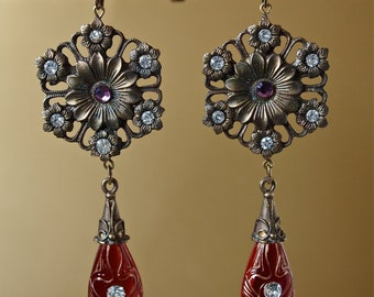Earrings Red Art Nouveau Red Czech Art Glass and Rhinestone Long Drop Gypsy Signed
