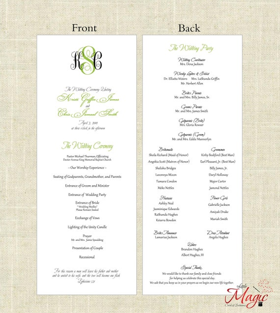 Items similar to Wedding Ceremony Programs - Choose Your Color ...