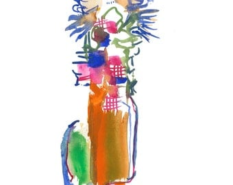 """Original Watercolor, Figure Painting, Abstract Art, Fashion Illustration, Gouache Painting, 6"""" x 6"""" - 221"""