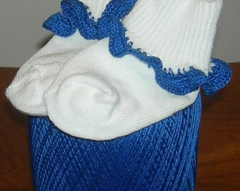 Infant Size Royal Blue Crocheted Ruffle Trim Socks - 12 to 24 Months