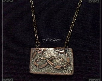 Medieval Celtic necklace with double Dragon symbol