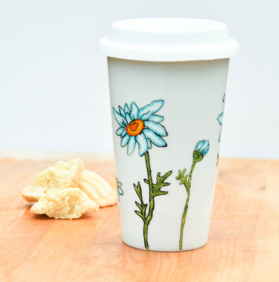 Hand Painted Ceramic Travel Mug Eco-Cup - Made to Order - Blue and White Daisies - Silicon Lid