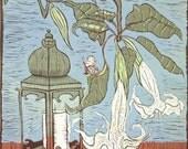 linocut, Angel Trumpet,flowers,lantern,candle,soft green,white,terracotta,tiles,Mediterranen,patio,teal,printmaking,large print