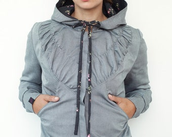 grey hooded jacket - grey - flowers