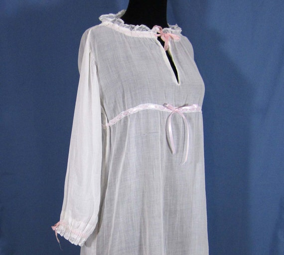 Sale Edwardian Night Gown Ca 1900 Voile With By Janesvintage