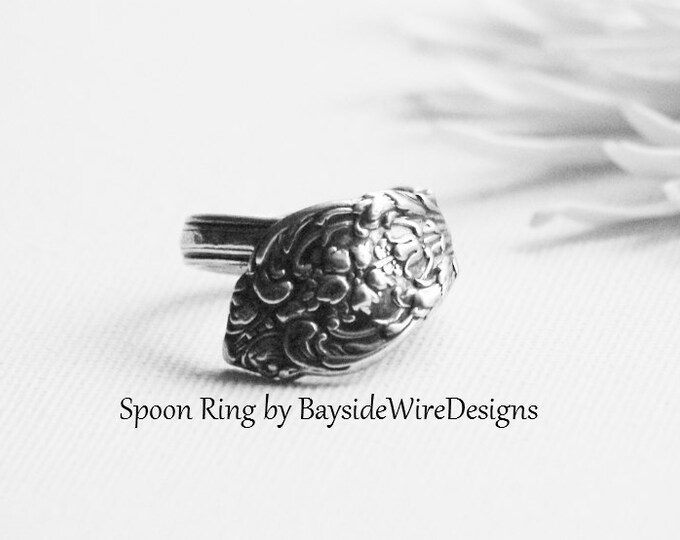 Thumb Ring, Antique Spoon Ring, Sterling Silver Ring, Victorian, Steam Punk, Silver Flatware, Spoon Jewelry, Gift Idea