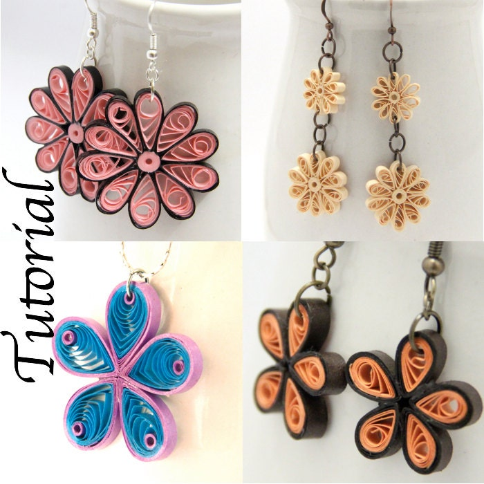 Tutorial for paper quilled jewelry pdf flower earrings and for How to make your own quilling paper