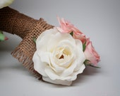 Burlap Rose Wedding Corsage - Shabby Chic Wedding Corsage