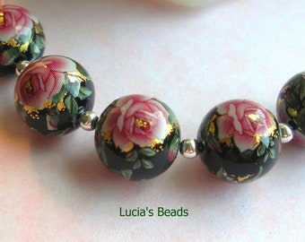 NEW Pretty Japanese Tensha Beads Pink Rose on Black 12 MM