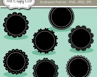 SALE! Scalloped Frames Vector Clip Art Set
