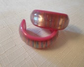 Vintage / STRIPED MOONGLOW EARRINGS / Hoops / Lucite / Embedded / Layered / Laminated / Pink / Retro / Rare / Collectibles / Accessories