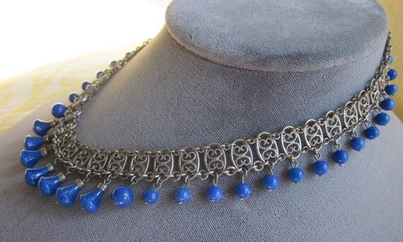 Vintage 1920 Czech Lapis & Silver Filigree Choker Necklace