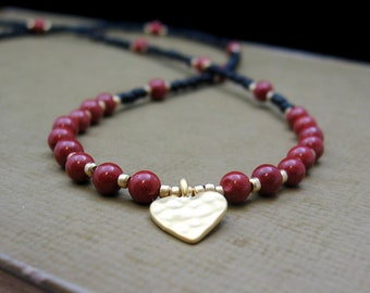 Matte Gold Hammered Heart, Red Jasper, Black & Gold Seed Beads - Necklace by We Are 1 (No. 4871)