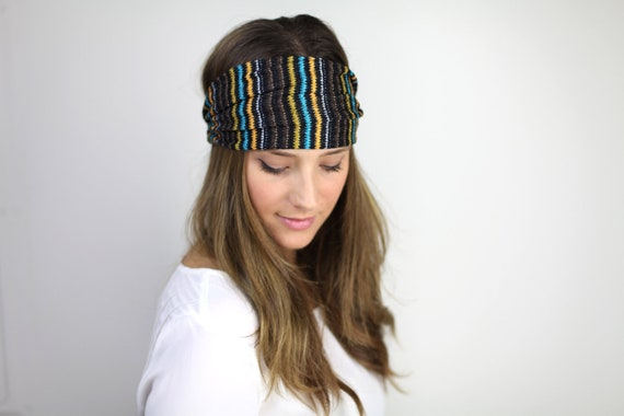 Headband, brown and teal stripe mesh headband headwrap, gym headband, turband chunky  headband, urban turban, headwrap, gym