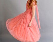 reserved / 1940s 1950s coral pink prom dress // 40s 50s prom dress // Strawberry Blonde