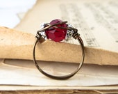 SALE - Wire Wrapped Swarovski Ring - Passion Red Rustic Ring
