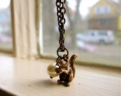 Litte red squirrel and pearl woodland creature necklace, Nuts For You