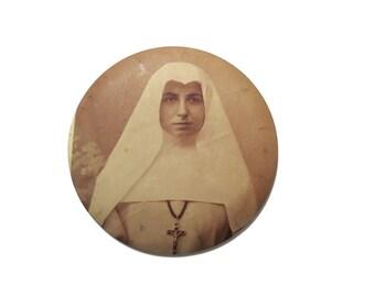 antique photo medallion nun