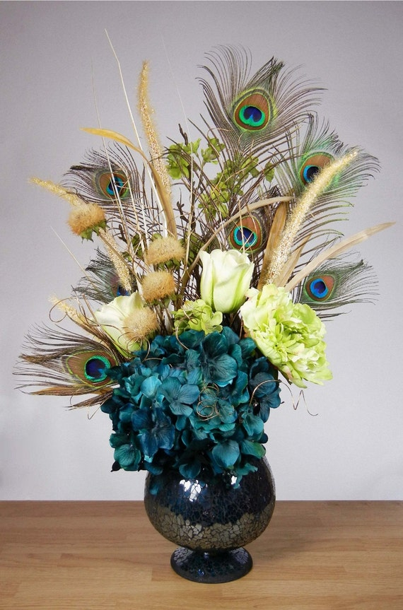 Teal blue and green peacock feather hydrangea by rachelsheart