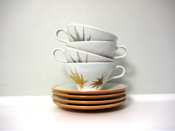 RESERVED Vintage Ben Seibel Autumn Harvest Teacups, Leaf Saucers, Informal Iroquois China, Fall Leaves, Burnt Orange, Ceramic, Tea Coffee