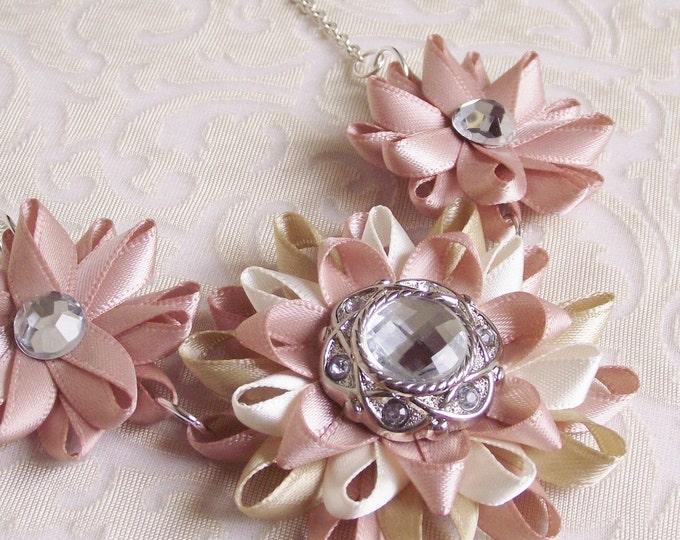 Blush Necklace, Blush Jewelry, Blush Pink Necklace, Blush Statement Necklace, Blush Bridesmaid, Beige and Blush Flowers, Blush Wedding