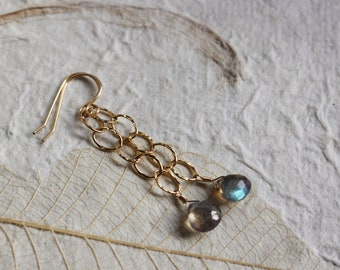 Labradorite Earrings, 14k Gold Filled, Heart Briolette, Flashy Blue Green, Wire Wrapped, Oval Hammered Chain, Long Dangle Dangly - Vera