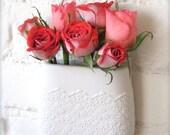 Porcelain Flower Lace Hanging Wall Pocket, Hanging Vase, Lovely Mother's day gift