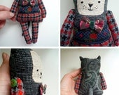 Gregory - Little  cat , soft art  toy  by Wassupbrothers.Free shipping