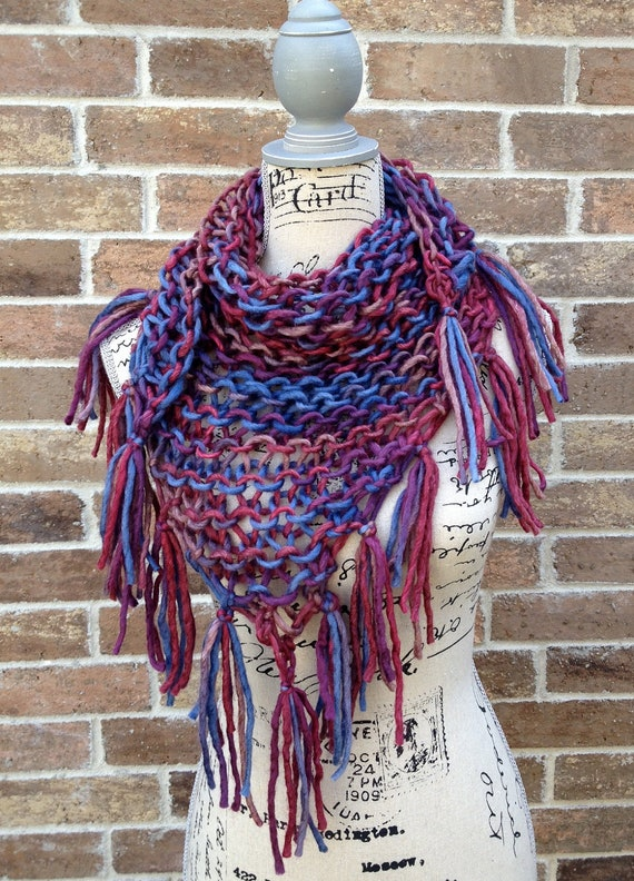Hand Knit Purple Triangle Scarf Tassels Multicolor Wrap