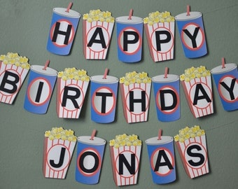 Movie Night Birthday Banner Movie Theme Party Decoration 2-D - Custom Name and Age (Up to 20 letters)