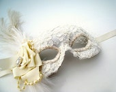 Bridal Masquerade Mask- glam lace and feather mask with veil
