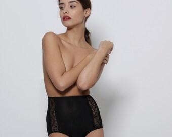 High Waist  Panties, Black lingerie, sexy  brief Women's Underwear, gift for her, black panties, black underwear, silk panties