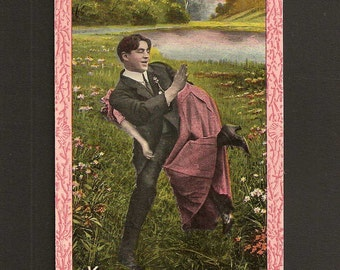 Christian Grey  VINTAGE Postcard postmarked 1912 handsome Man Spanking Woman ...Oh Mr Grey...