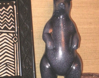 Lavender BEAR mottled purples Stone -Like Texture Standing Bear carving figure ceramic