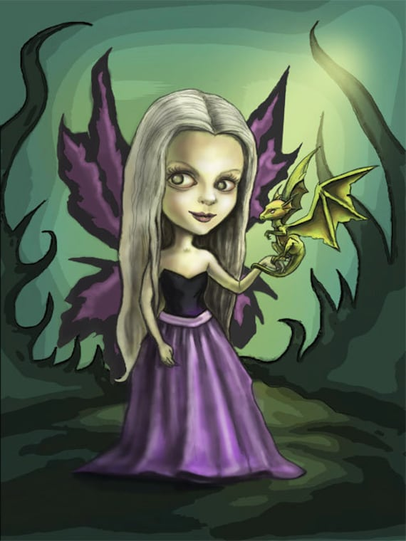 Gothic Fairy and Dragon Painting - FANTASY ART PRINT