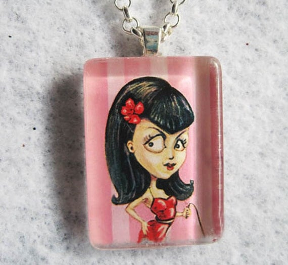 Bettie Page Sex Kitten Pin-Up Girl Glass Pendant