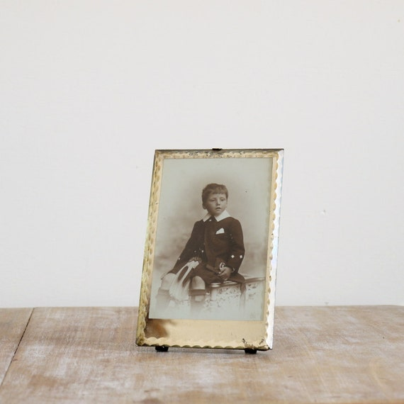 Vintage Scottish kilted victorian child in with frame scalloped glass edge and silvered interior