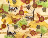 "Mixed media art, chipmunks, acorns, flowers, fall, autumn, collage 8 x 10 Limited edition print 1/250, ""Autumn, Autumn"" - TammyOlson"