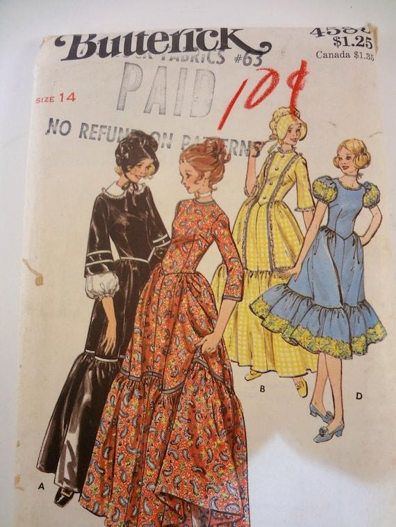 Prairie Frontier Dress, Costume Pattern, Butterick 4585, Size 14 Unused